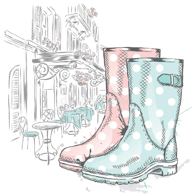 Botas de borracha em um fundo de uma rua da cidade Forma & estilo ilustração stock