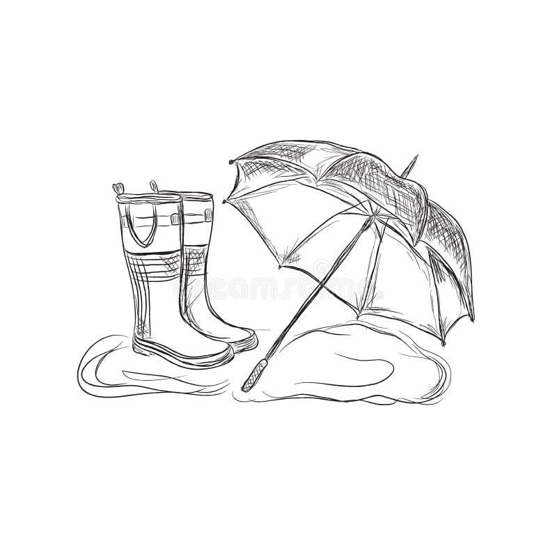 Botas de chuva e guarda-chuva, estilo do esboço, ilustração do vetor ilustração do vetor