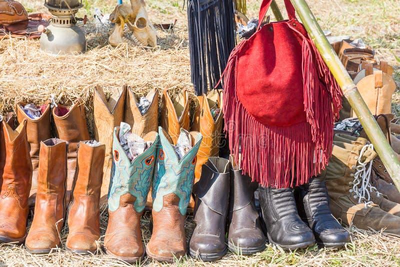 Botas de couro do vaqueiro ocidental americano imagem de stock royalty free