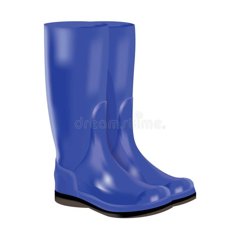 Botas de goma azules en el fondo blanco. libre illustration