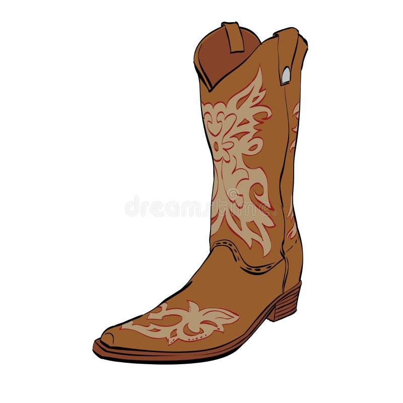 Botas de vaqueiro de couro ilustração royalty free