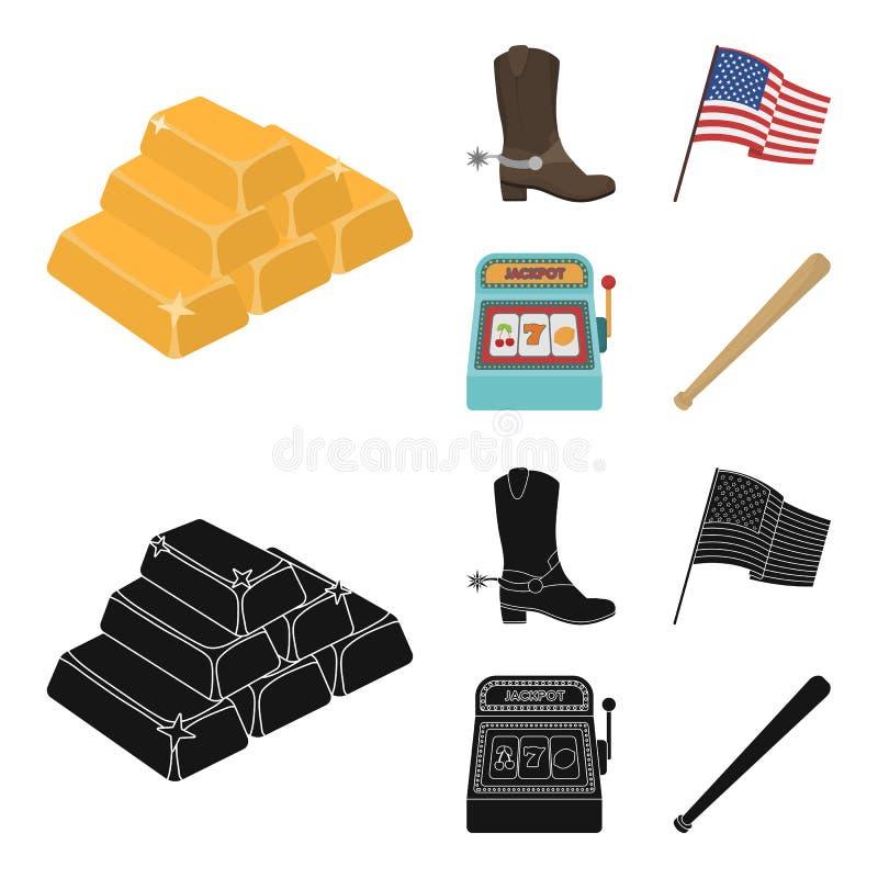 Botas de vaquero, bandera nacional, máquina tragaperras, bate de béisbol Iconos determinados de la colección del país de los E.E. libre illustration