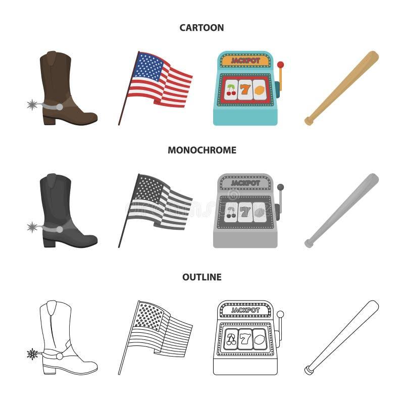 Botas de vaquero, bandera nacional, máquina tragaperras, bate de béisbol Iconos determinados de la colección del país de los E.E. ilustración del vector