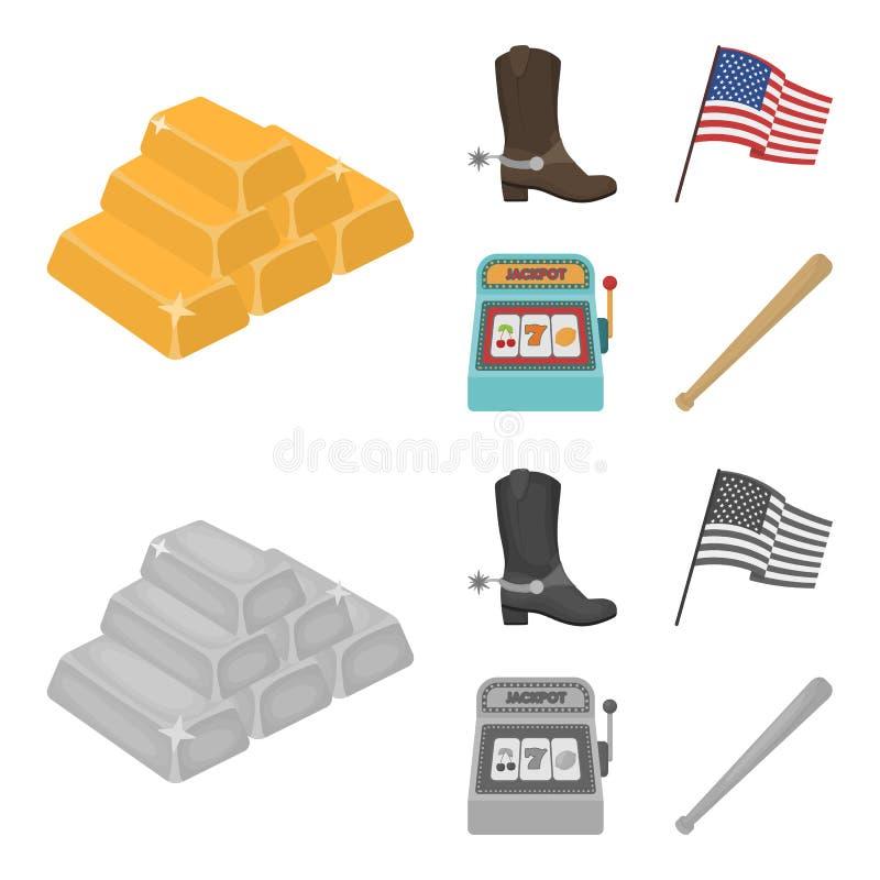 Botas de vaquero, bandera nacional, máquina tragaperras, bate de béisbol Iconos determinados de la colección del país de los E.E. stock de ilustración