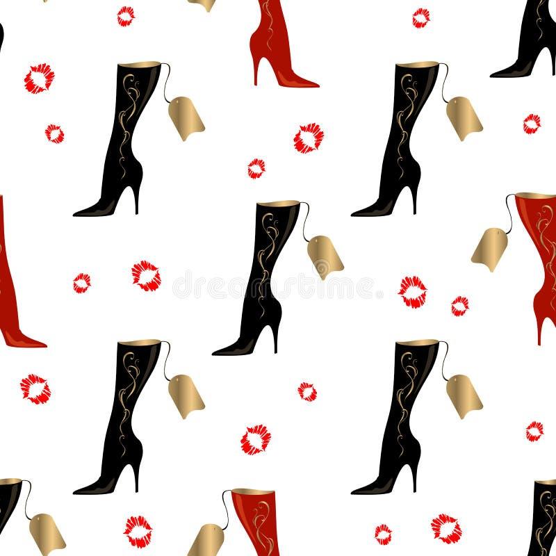 Botas del ` s de las mujeres Modelo inconsútil Impresión del lápiz labial Fondo blanco Vector ilustración del vector