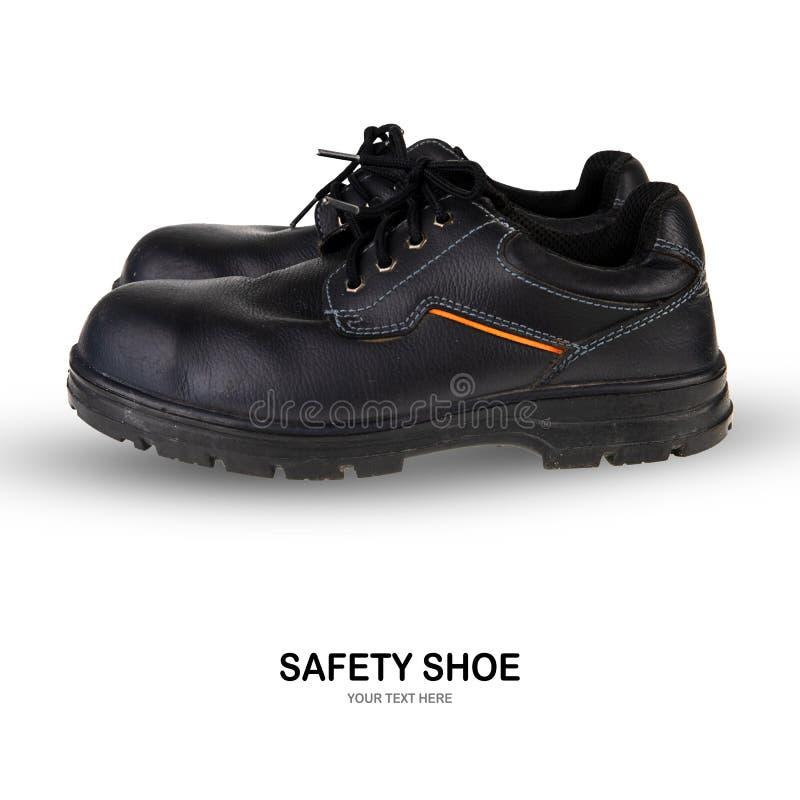 Botas del trabajo del negro de zapato de seguridad en el fondo blanco imágenes de archivo libres de regalías