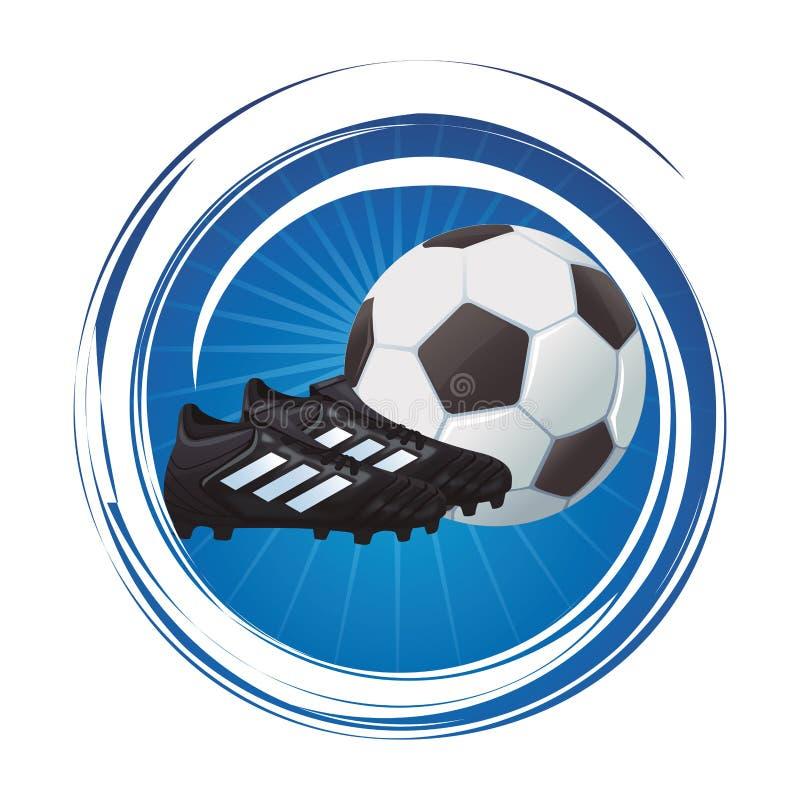Botas do futebol com bola ilustração stock