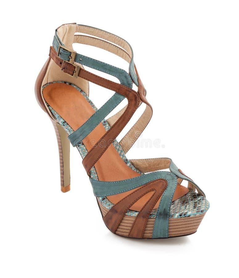 Botas elegantes do tornozelo dos saltos altos do estilete foto de stock