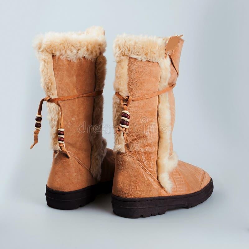 Botas femeninas del invierno de la moda de Brown fotos de archivo