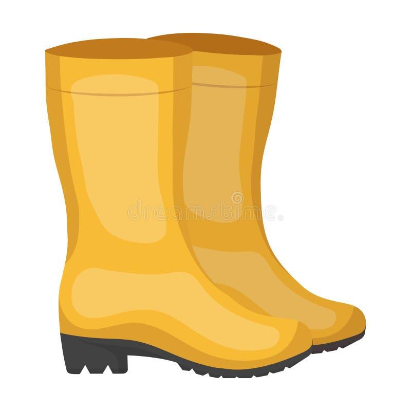Botas impermeáveis de borracha amarelas para que as mulheres trabalhem no jardim Cultive e único ícone de jardinagem no vetor do  ilustração stock
