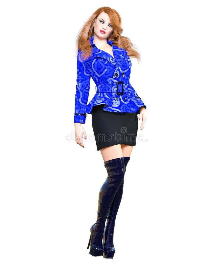 botas largas del pelirrojo 3D de la mujer del cortocircuito de la cazadora de la falda hermosa del equipo ropa de la colección de imagenes de archivo