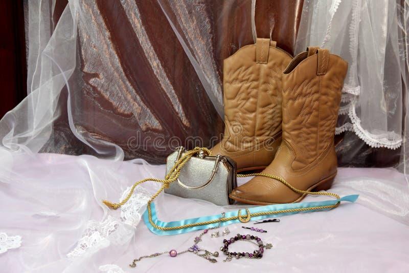 Botas para uma noiva em África do Sul fotografia de stock