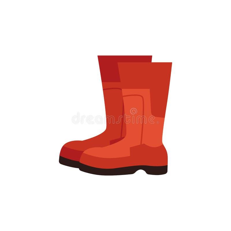 Botas vermelhas de borracha do vetor para o ícone do trabalho do construcion ilustração royalty free