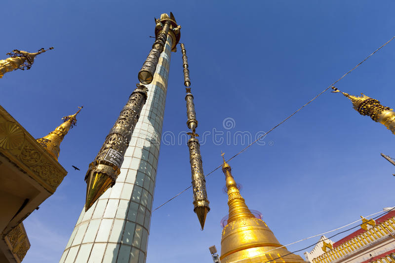 Botataung pagoda in downtown Yangon, Myanmar. The golden Botataung pagoda located in downtown Yangon, Myanmar royalty free stock photography