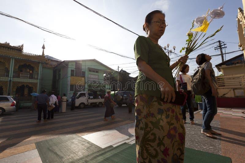 Botataung pagoda in downtown Yangon, Myanmar. Yangon, Myanmar - Oct 31 : the golden Botataung pagoda located in downtown Yangon, Myanmar on October 31,2015. This stock photo