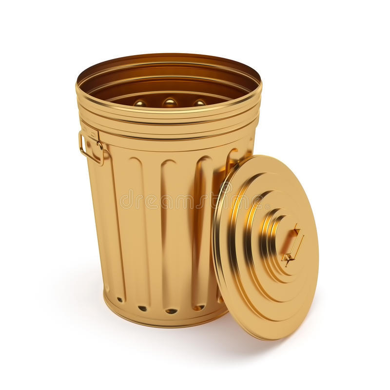 Bote de basura abierto de oro aislado en el fondo blanco ilustración del vector