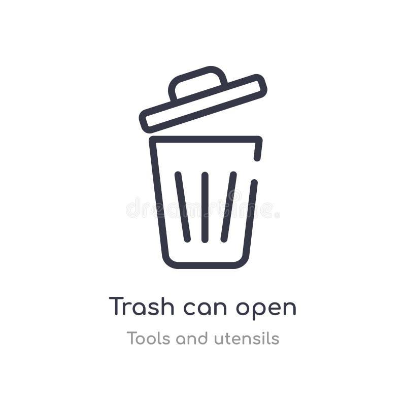 bote de basura abrir el icono del esquema l?nea aislada ejemplo del vector de la colecci?n de las herramientas y de los utensilio libre illustration