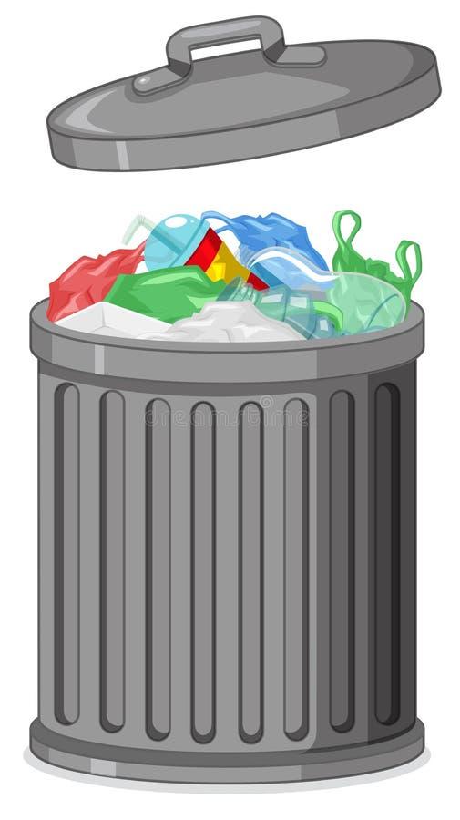 Bote de basura aislado del metal ilustración del vector