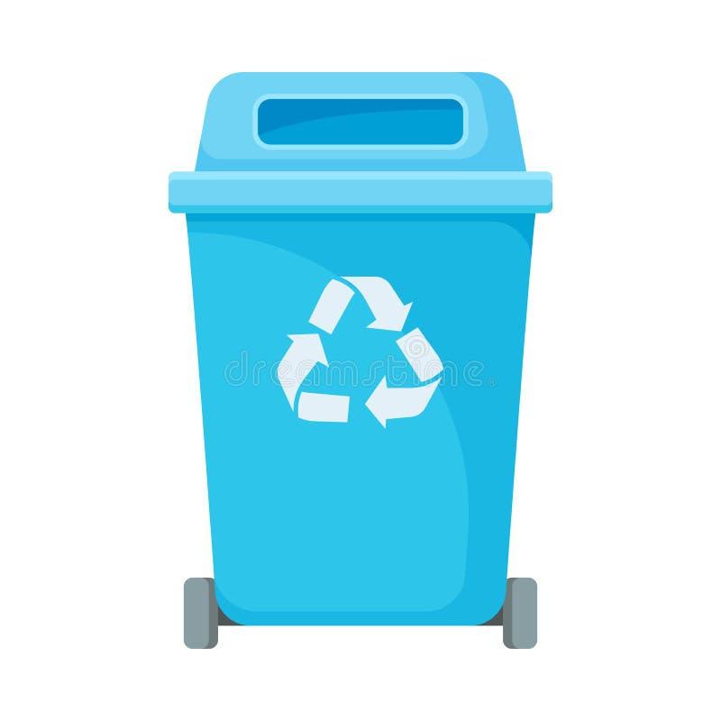 Bote de basura azul con la tapa Ilustraci?n del vector en el fondo blanco libre illustration