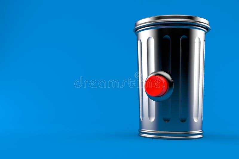 Bote de basura con el botón ilustración del vector