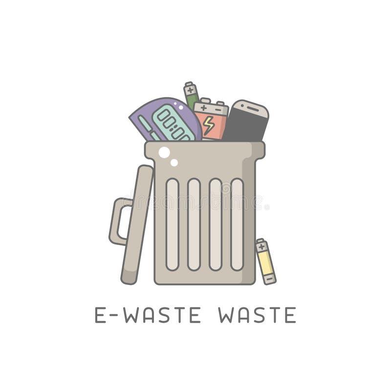 Bote de basura con la e-basura stock de ilustración