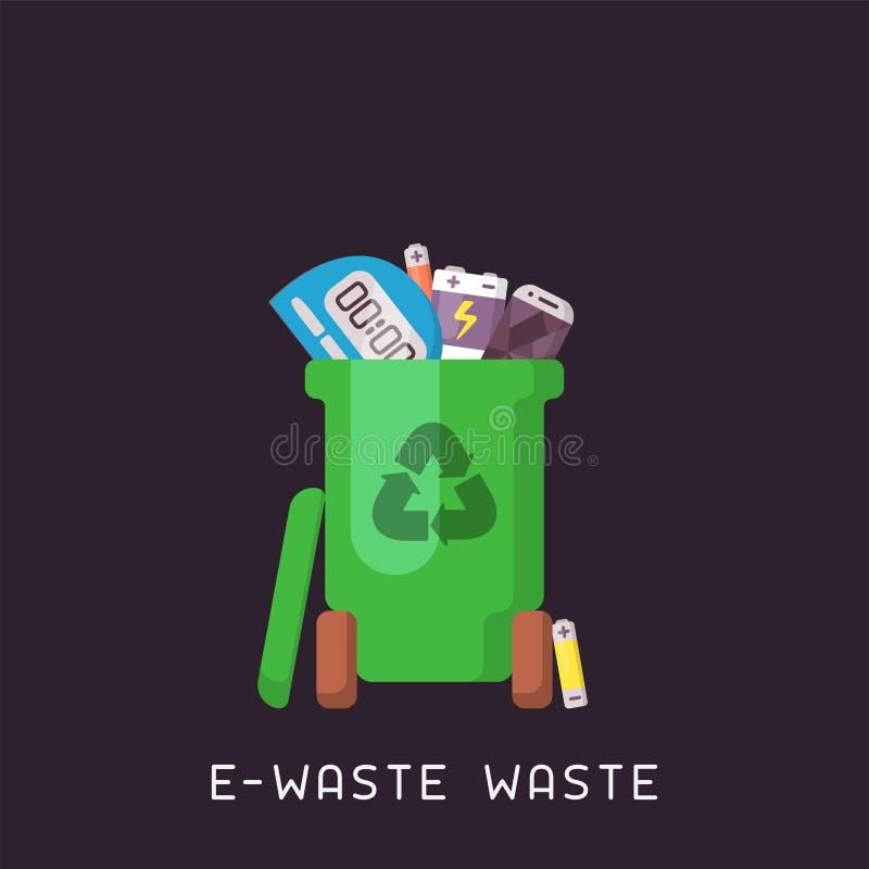 Bote de basura con la e-basura ilustración del vector