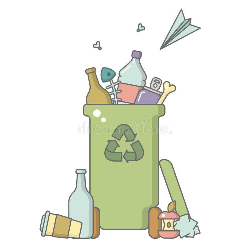 Bote de basura con la basura mezclada stock de ilustración