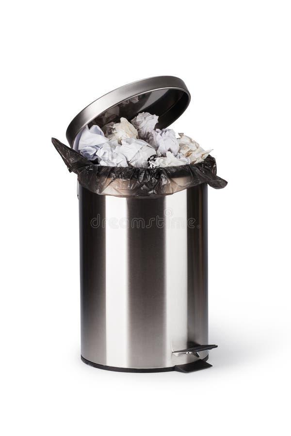 Bote de basura de acero fotografía de archivo libre de regalías