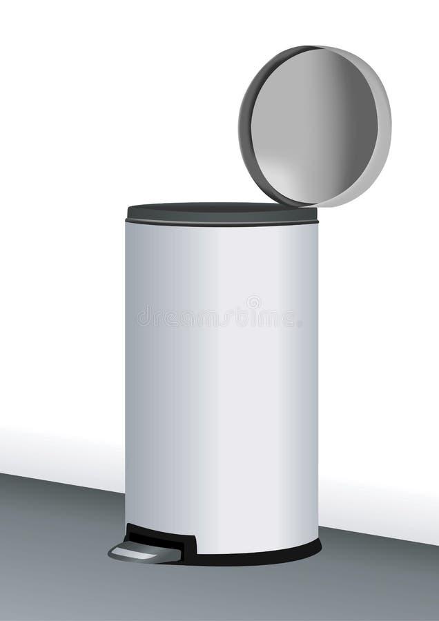 Bote de basura del acero inoxidable ilustración del vector