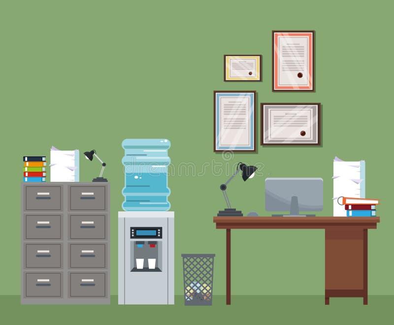 Bote de basura del certificado de un agua más fresca del gabinete del escritorio del espacio de trabajo de la oficina ilustración del vector