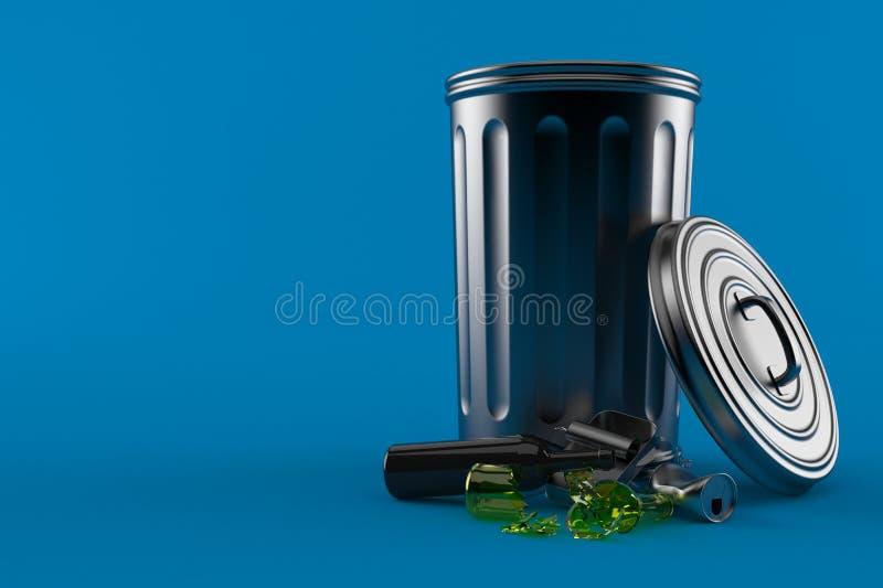Bote de basura del metal stock de ilustración