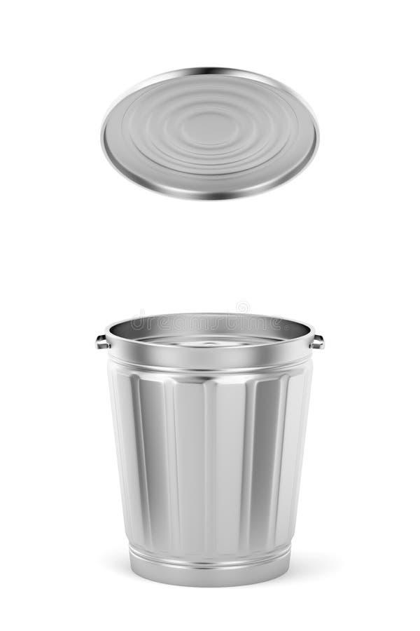 Bote de basura del metal con la tapa ilustración del vector