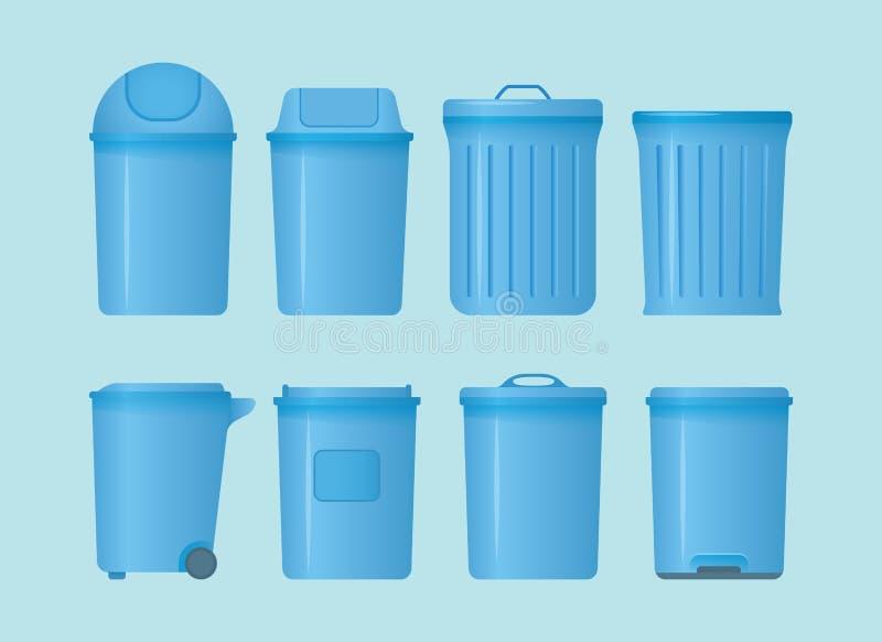 Bote de basura fijar la colección con diversos forma y modelos con estilo plano moderno y el color azul - vector stock de ilustración