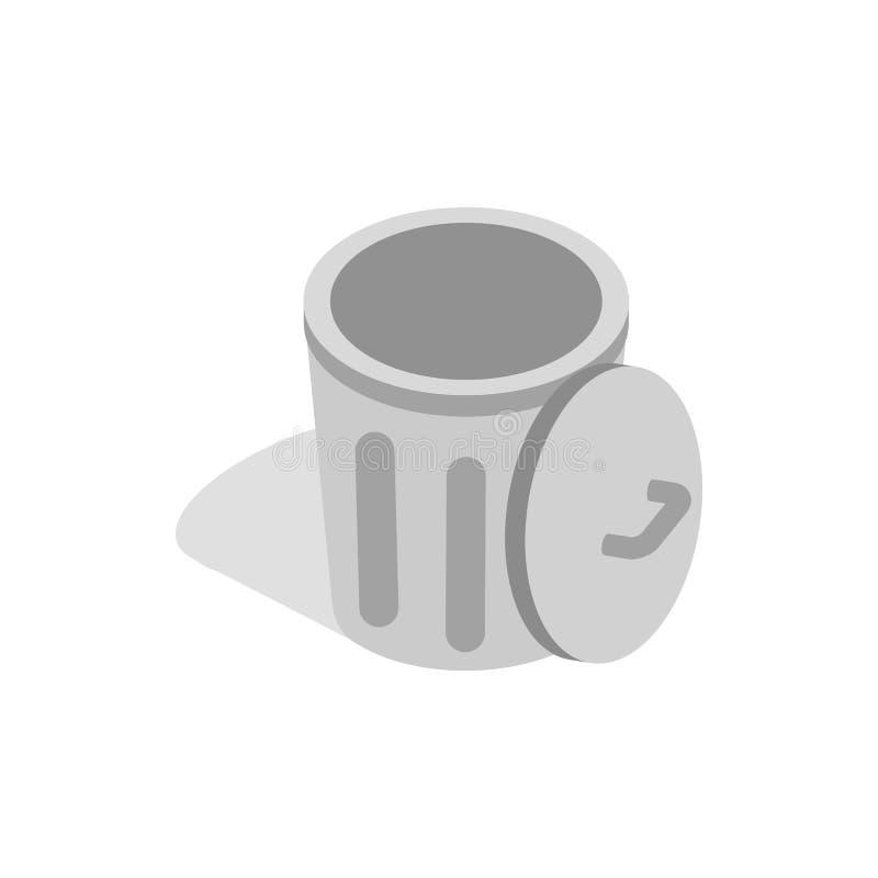 Bote de basura gris con el icono abierto de la tapa stock de ilustración