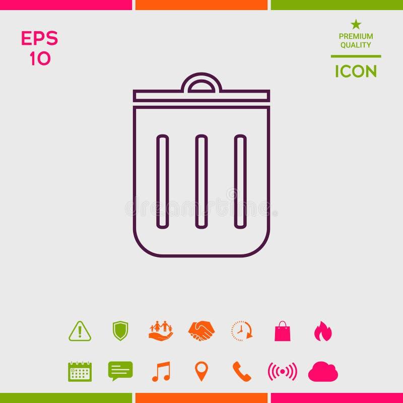 Bote de basura, icono stock de ilustración