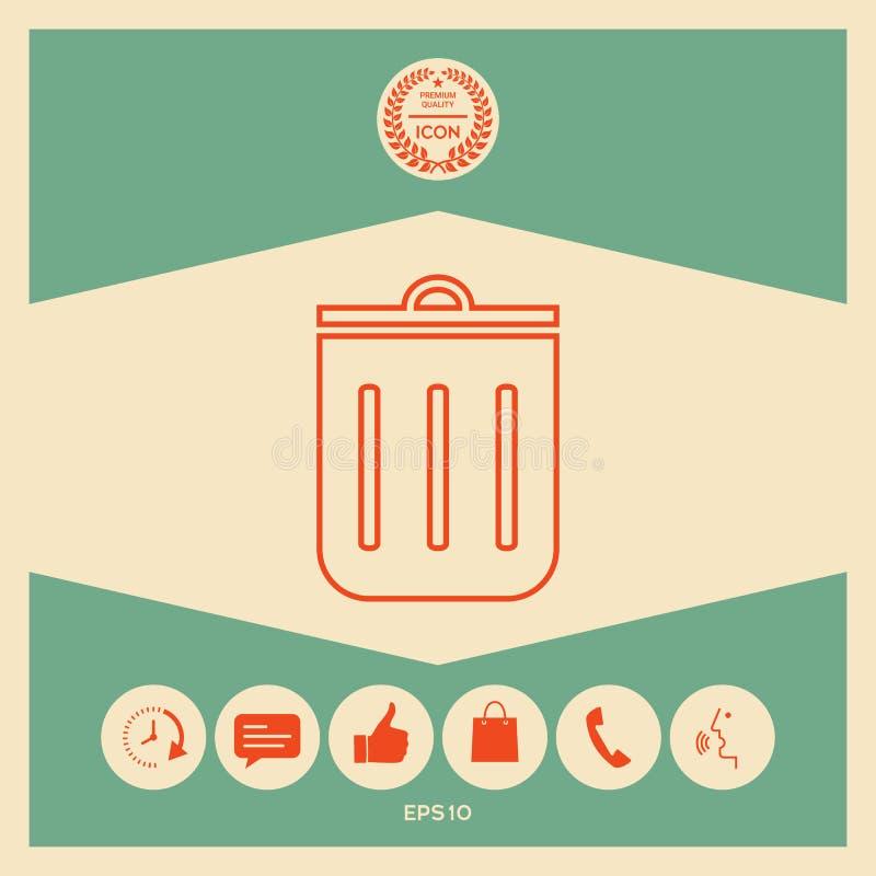 Bote de basura, icono libre illustration