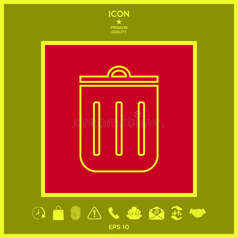 Bote de basura, icono ilustración del vector