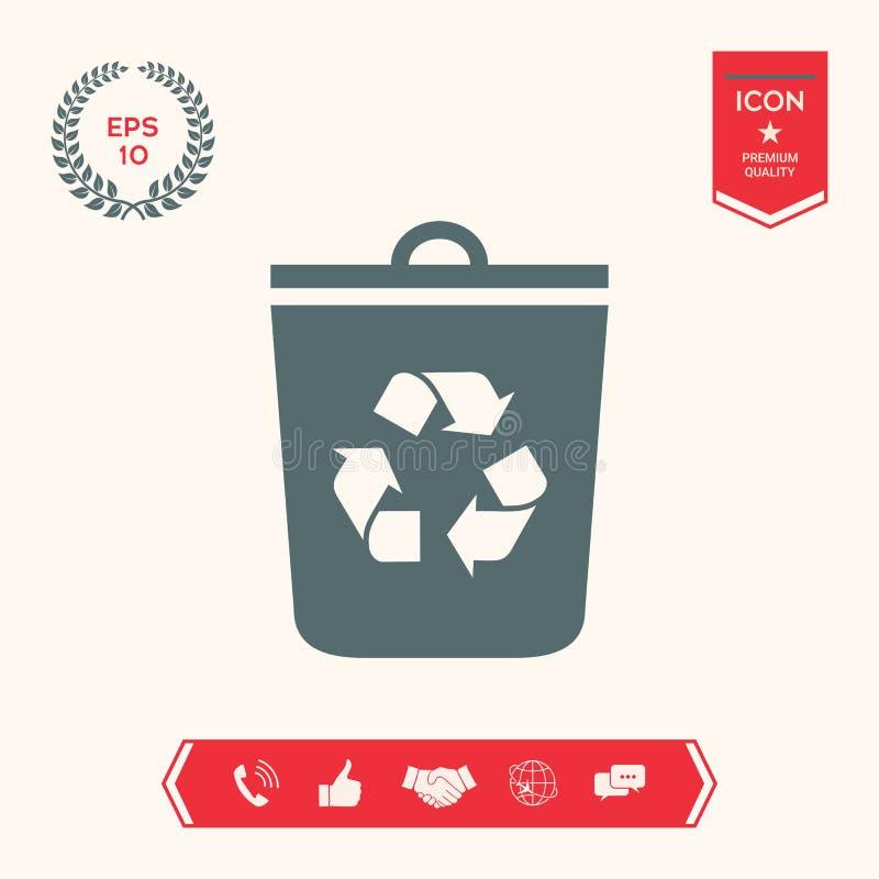 Bote de basura, icono de la papelera de reciclaje stock de ilustración