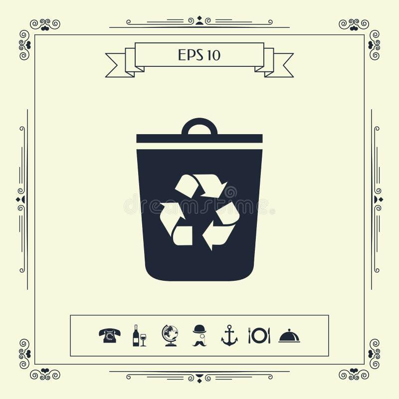 Bote de basura, icono de la papelera de reciclaje ilustración del vector