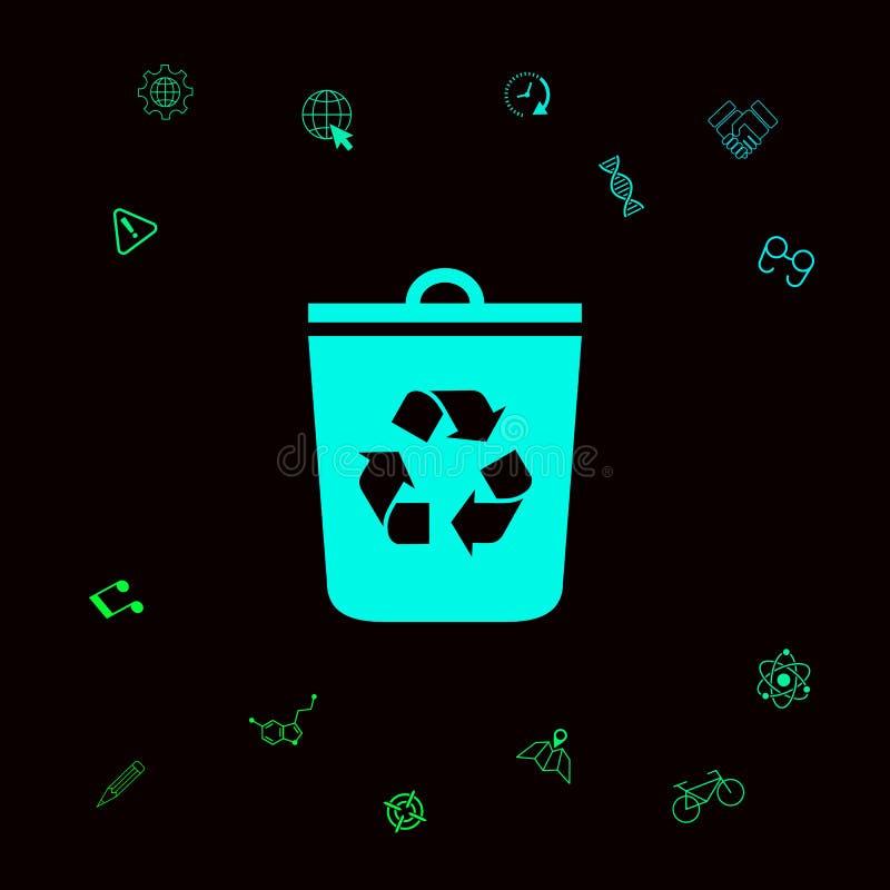 Bote de basura, icono de la papelera de reciclaje Elementos gráficos para su designt stock de ilustración
