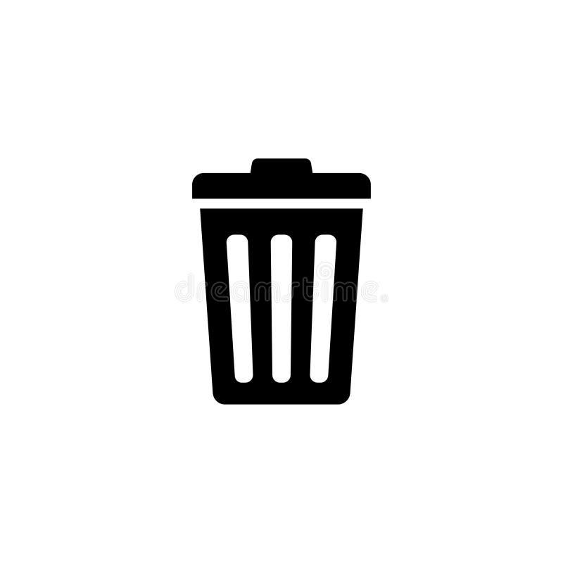 Bote de basura, icono plano del vector del compartimiento de los desperdicios ilustración del vector