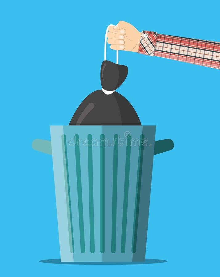 Bote de basura inútil enorme stock de ilustración