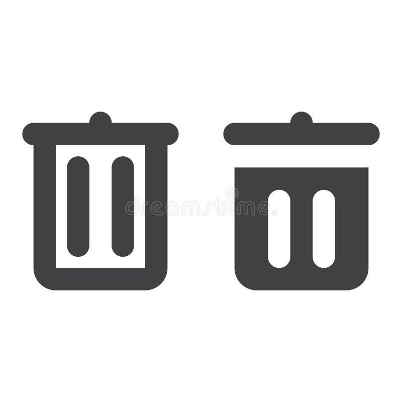 Bote de basura, línea gruesa de la papelera de reciclaje e icono sólido stock de ilustración