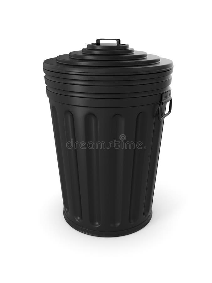 Bote de basura negro ilustración del vector