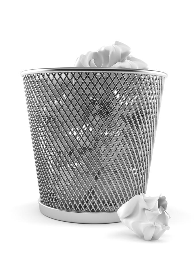 Bote de basura de papel con el papel arrugado libre illustration