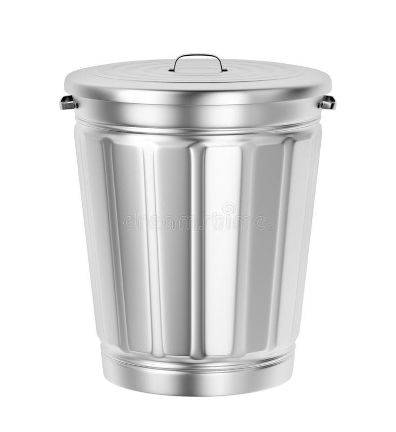 Bote de basura de plata ilustración del vector