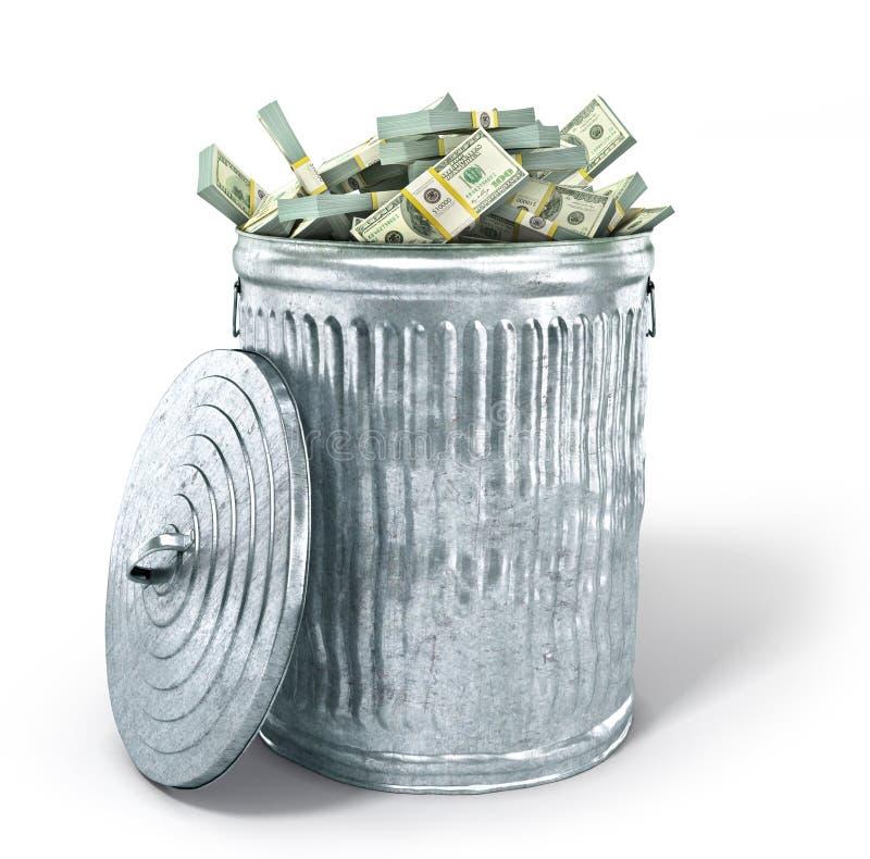 Bote de basura por completo del dinero fotos de archivo