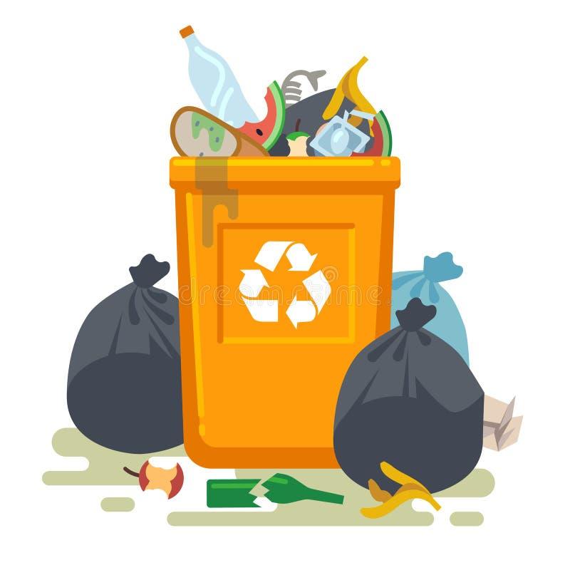 Bote de basura que desborda Basura de la comida en el cubo de la basura con el olor desagradable Bote de la basura y basura que r stock de ilustración