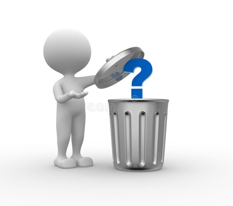 Bote de basura y signo de interrogación libre illustration