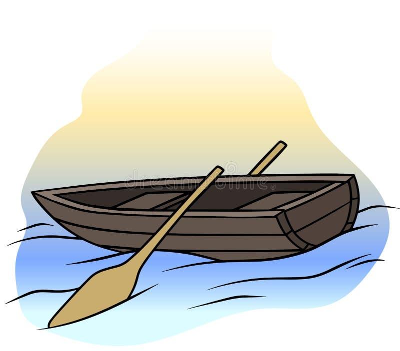 Bote de remos marrón de madera de la historieta con dos remos libre illustration